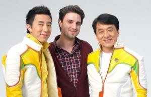 Jaycee Chan, Alex and Jackie Chan on set